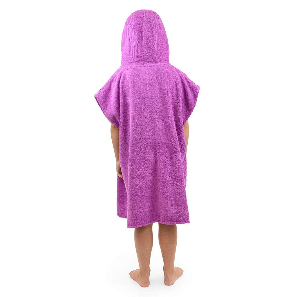 Swimming Kids Hooded Bath Towel Poncho Children Beach Towels Soft Cotton Changing Robe with Pockets Boys Girls Hoodie Towelling Bathrobes Sleepwear Ideal for Holidays Bathing