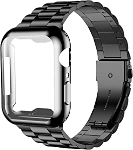 iiteeology Compatible with Apple Watch Band 44mm SE/Series 6 5 4, Upgraded Stainless Steel Link Replacement Band with iWatch Screen Protector Case Black/Black