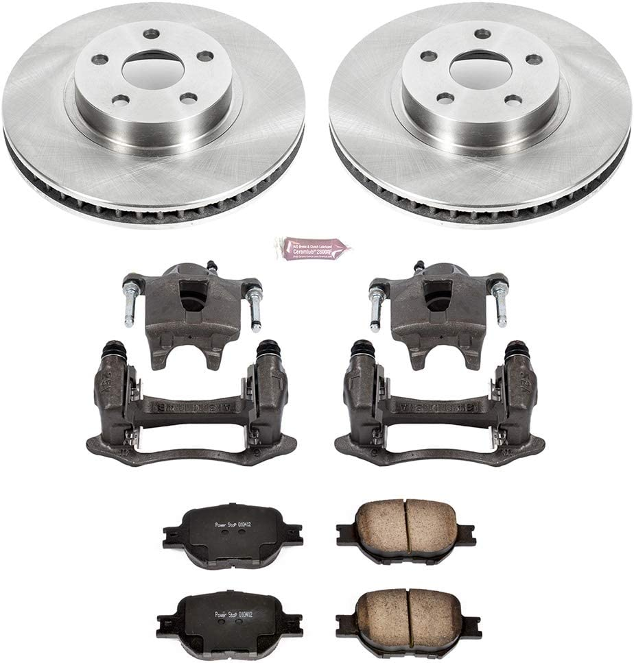 OE Rotors Calipers Power Stop KCOE2313A Autospeciality Replacement Front Caliper Kit Ceramic Brake Pads