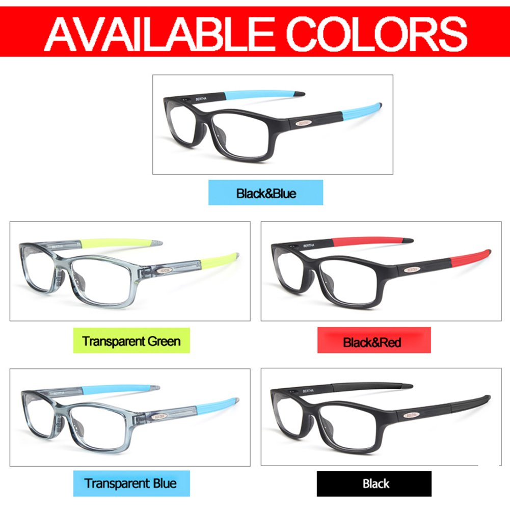 Bertha Sports Glasses Optical Protection Basketball Eyeglasses Frame Business Presription Eyewear 004 (Black&Red) by Bertha (Image #4)
