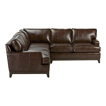 Excellent Ethan Allen Arcata Three Piece Leather Sectional Omni Brown Top Grain Leather Ocoug Best Dining Table And Chair Ideas Images Ocougorg