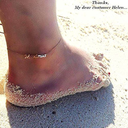 Personalized Anklet Gold custom anklet 14k Real Solid Gold bar anklet Dainty gold Anklet bar bracelet  Gold Delicate Anklet christmas