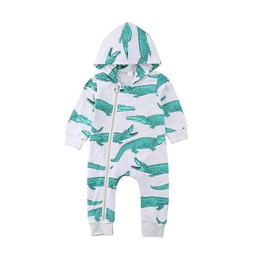 18a90aa4a67 sportsmanship.lavendersite.top Newborn Kids Baby Boy Crocodile Print Hooded Romper  Long Sleeve Zipper