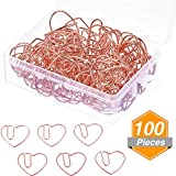 Jetec 100 Pieces 3 cm Love Heart Shaped Small Paper Clips Bookmark Clips for Office School Home (Rose Gold)