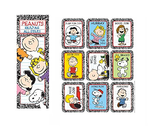 PEANUTS Charlie Brown SNOOPY - 36 Bookmarks & 36 STICKERS - Reading ALL-STARS Rewards Classroom TEACHER - PARTY Favors - Doctor Dentist MOTIVATIONAL by Just4fun