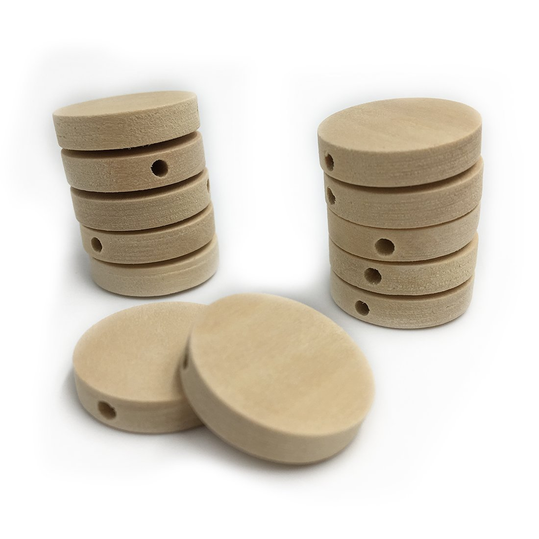 0.79 Inch Wood Round Beads Wooden Teether Unfinished DIY Accessories Wood Chips Circles Wood Discs Baby Toys Amyster 50pcs Natural Flat 20mm 50pcs