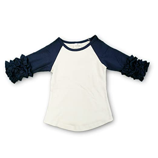 7848d006 The Hair Bow Company Toddler Girl Icing Ruffle Raglan Shirt 18m Navy Blue