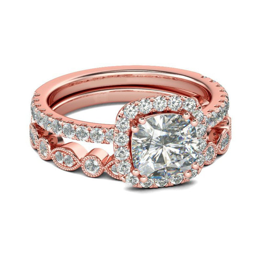 Womens 2-in-1 White Diamond Ring Rose Gold Plated Bridal Wedding Engagement Anniversary Statement Eternity Ring Set