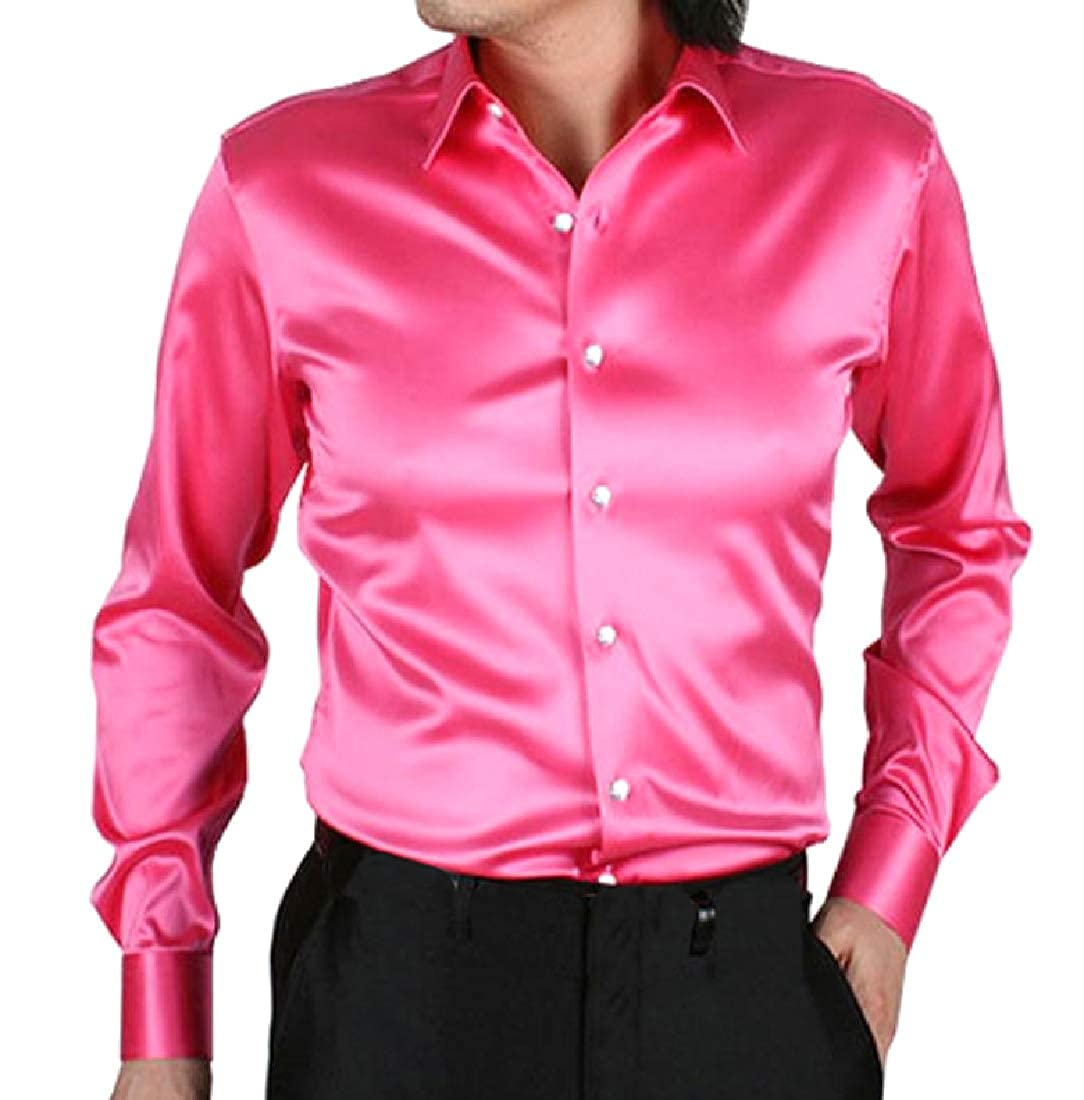 Tootless-Men Slim Casual Imitated Silk Bright Color Western Shirt