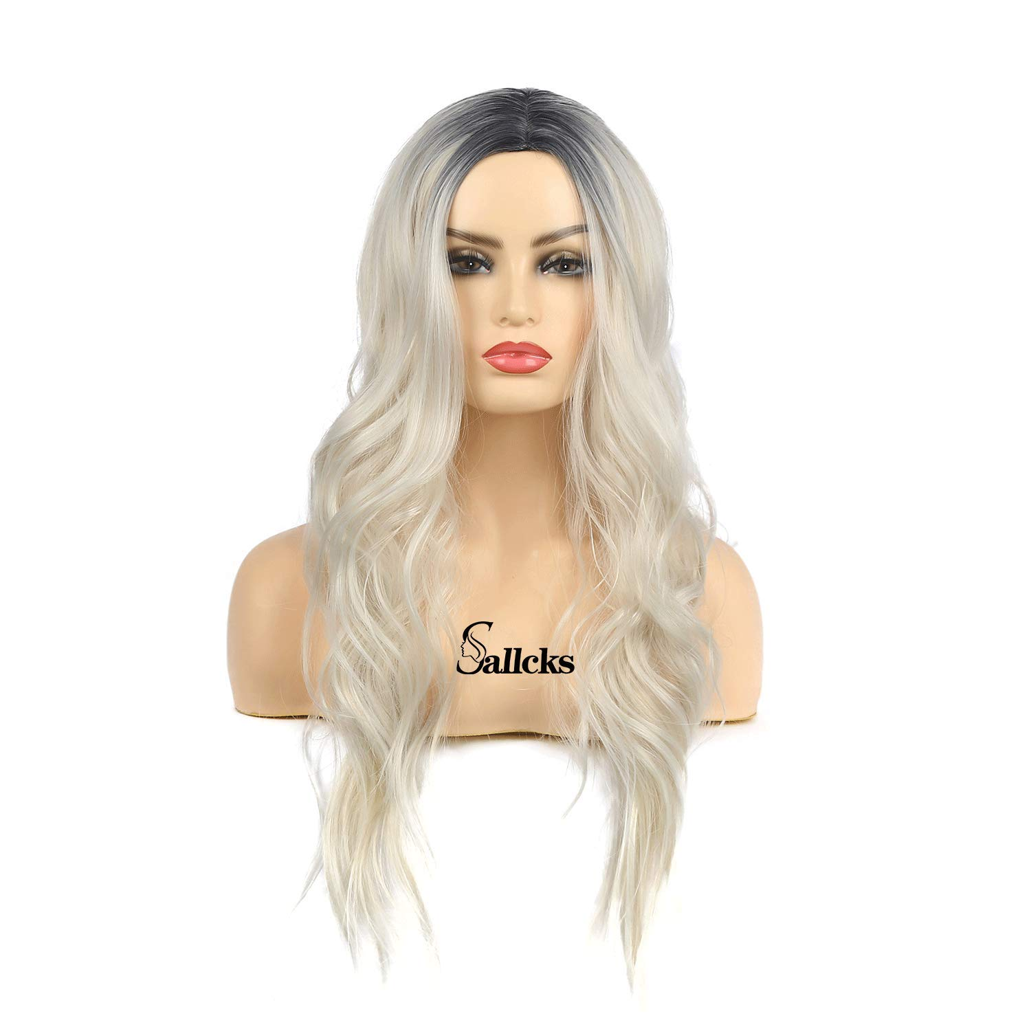 Sallcks Womens Long Curly Wavy Ombre Platinum Blonde Wigs Dyeing Color Synthetic Replacement Wigs Heat Resistant Party Daily Wig with Wig Cap