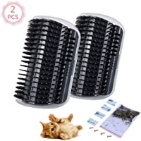 2 Pcs/Set Cat Self Groomer Brush Catnip-Wall Corner Mounted Massage Grooming Comb-Helps Prevent Hairballs and Controls Coming-Safe fortable with Catnip (Black)