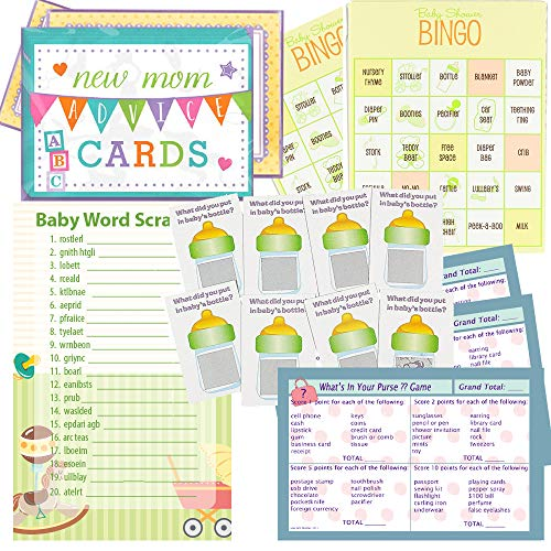 Multiple Baby Shower Games Set for 24 - Baby Shower Bingo, Whats in Your Purse Game, Word Scramble, Scratch Tickets and New Mommy Advice Cards