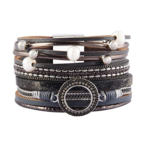 8dbd4f9882e Jenia Women Leather Wrap Bracelet Pearl Cuff Bracelets Wide Rope Braided  Bracelets Handmade Jewelry Bohemian Gift