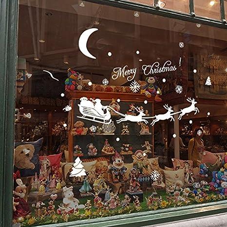 Leisial Decorazione Natalizia Parete di Finestra Albero di Natale Fiocco di Neve Muratore Finestra Casa Decor Santa Claus elk Bianca
