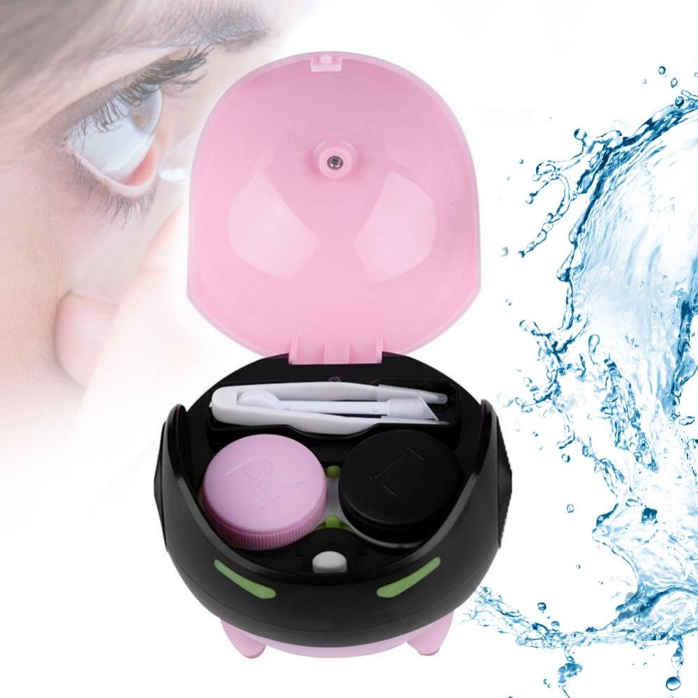 Portable Automatic Contact Lens Ball Mask Washer Cleansing Lenses Cleaner Lens Case, USB Charge(Pink)