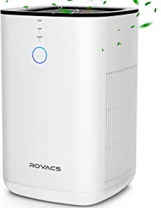 ROVACS Air Purifiers for Home, 3-in-1 True HEPA Filter Air Purifier Up to 400ft² Per 30Min, Desktop Air Purifier for (99.97) Allergies and Pets, Smoke, Dust, Mold, 3D Intake, Available for California
