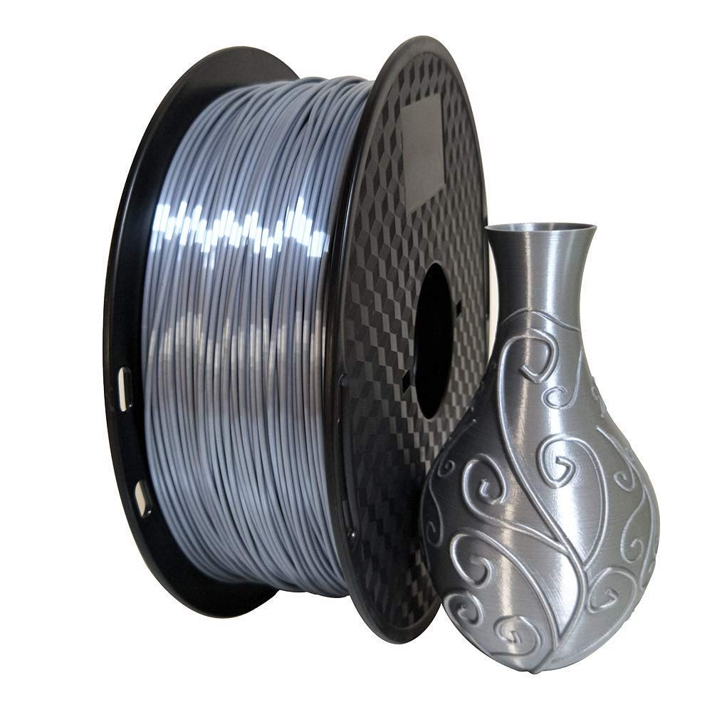 2.2 LBS Silk Silver 3D Printer Filament PLA 1.75 mm 1 KG Silky Shiny PLA Metal Silver Like CC3D ZHUOPU