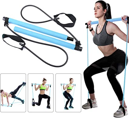Amazon Com Greymond Portable Pilates Bar Kit Yoga Pilates Stick Muscle Toning Bar With Resistance Band Home Gym Pilates Yoga Exercise Bar With Foot Loop For Total Body Workout Sports