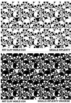 Flexistamps Texture Sheet Set Skulls Aplenty (Including Skulls Aplenty and Skulls Aplenty Inverse)- 2 Pc. by FlexiStamp
