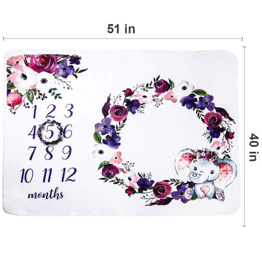 Baby Milestone Blanket Monthly Milestone Blanket Girl Boy Includes Purple Floral Wreath Large Super Soft Fleece Flannel Elephant Blanket for Newborn Photography 1 to 12 Months Baby Shower Gifts