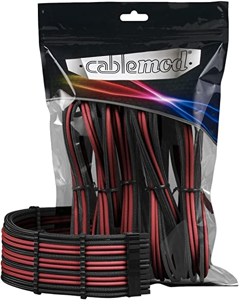 Black//Blood RED CableMod PRO ModMesh Cable Extension Kit