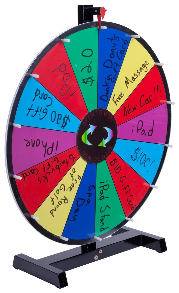 Promotional Prize Wheel with 24'' Write-on Surface for Wet or Dry-Erase Markers, 14 Prize Slots, Black Wooden Base for Tabletop Use, Carrying Bag Included