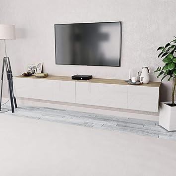 Festnight 2 Pcs Meuble Tv Banc Tv En Agglomere Avec Rangement 120 X 40 X 34 Cm Chene Et Blanc Brillant