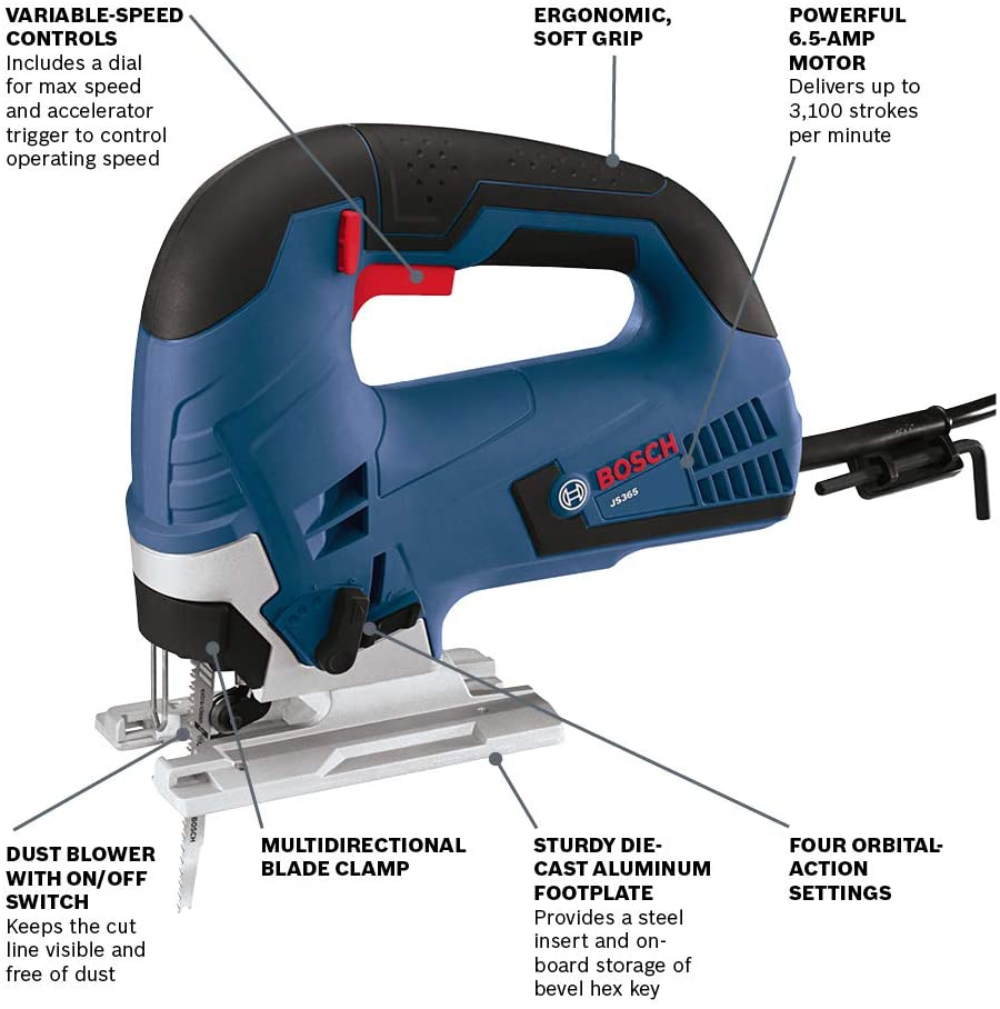 Bosch Jig Saw 6-Amps Corded Variable Speed Top Handle Blades Dust Blower Case