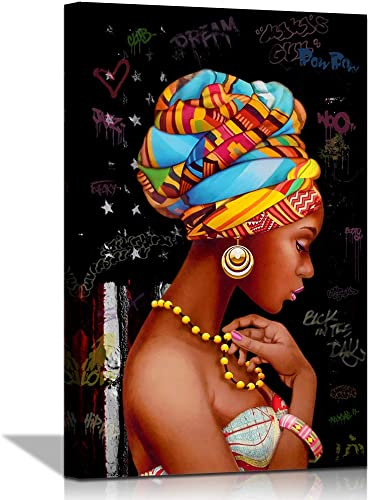 NLKTIYC African Pattern Black Woman Wall Art Gallery Canvas Print Bedroom Living Room Bathroom Decor Kitchen Dining Room Dorm Printed Painting African Poster Frame Easy to Hang