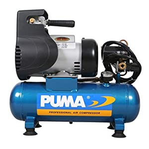 Puma Industries LA5706 Air Compressor, Single Stage Oil-Less Direct Drive Series, 1.0 hp Running, 135 Maximum psi, 115/1V/Phase, 1.5 gal, 33 lb.