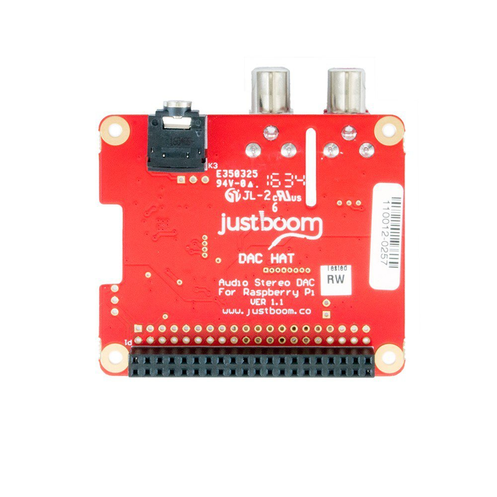 DAC HAT Digital-to-Analog Converter for the Raspberry Pi (384kHz/32bit,  line out, headphones out)