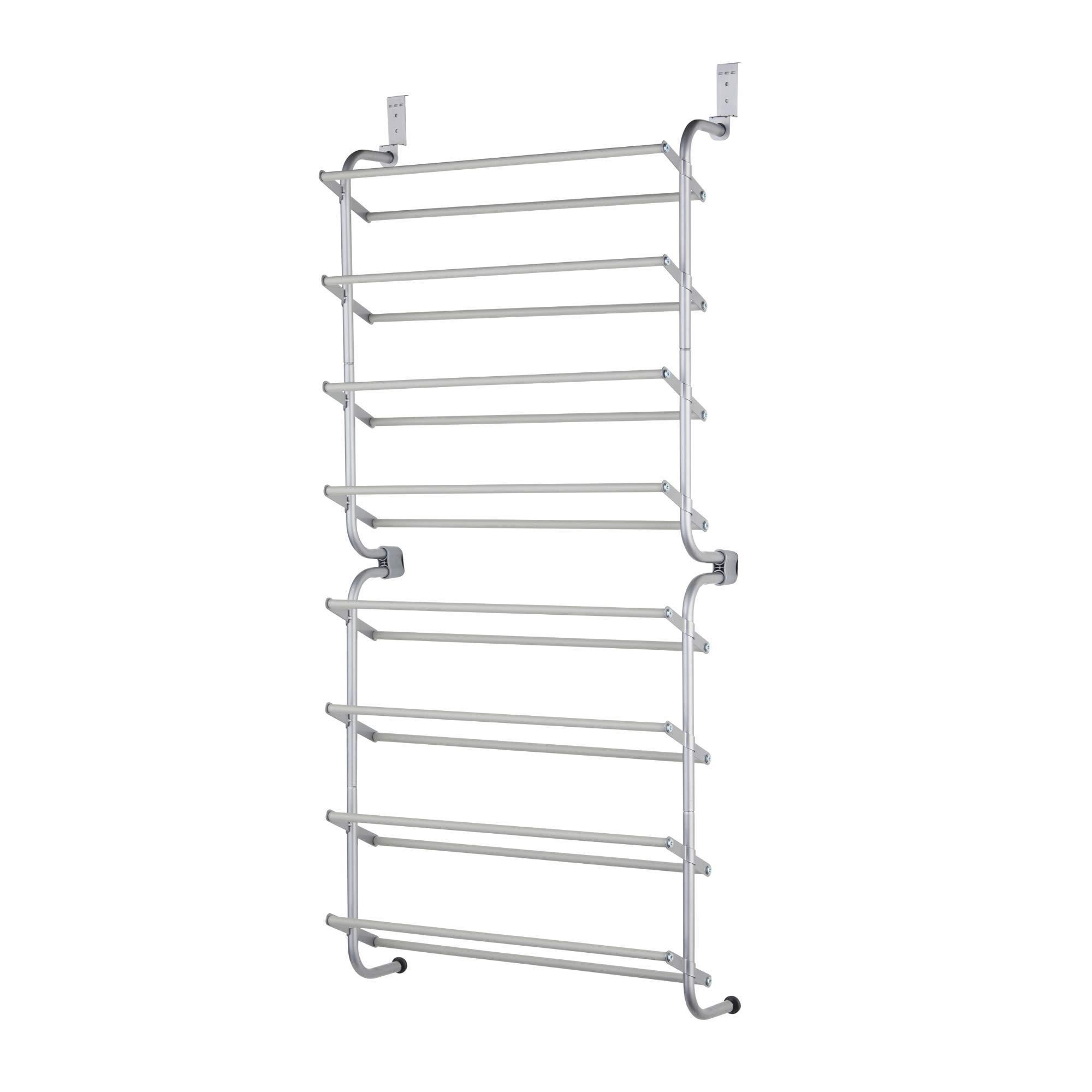 Type A Over the Door Shoe Rack for Closets | Door Shoe Organizer for 24-Pairs of Shoes | For Back of Door Hanging Organization in Closets, Bedroom, Bathroom | Metal