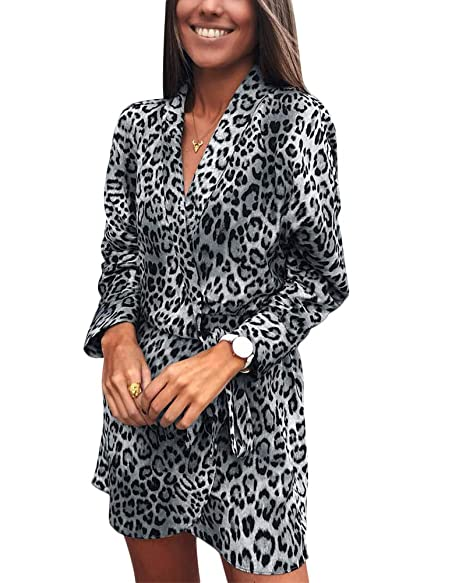 Vamvie Leopard Print Dresses for Women - Long Sleeve Knee Length Animal  Print Tunic Mini Dress a0be35aad