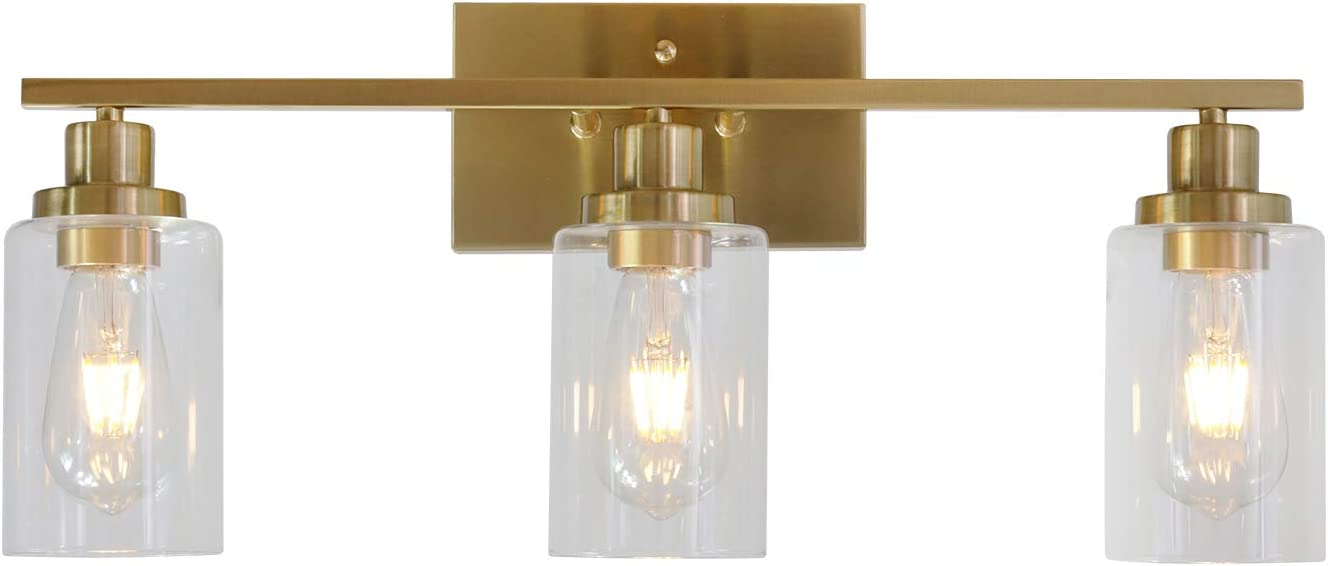 Amazon Com 3 Lights Melucee Sconces Wall Lighting Brass Contemporary Bathroom Vanity Light Fixtures Wall Lights Bedroom Porch Living Room Kitchen With Clear Glass Shade Home Improvement