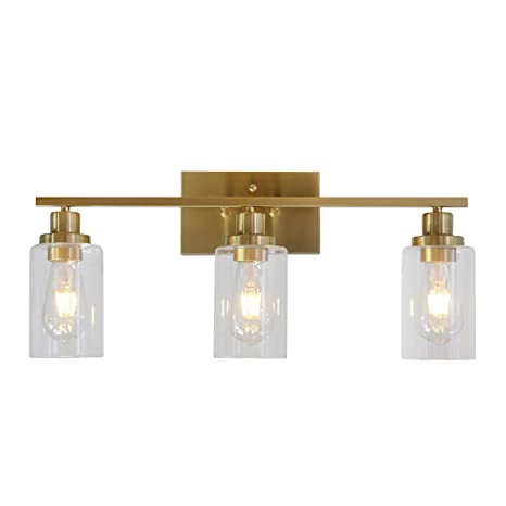 low priced b80c6 dd9bc 3 Lights MELUCEE Sconces Wall Lighting Brass Contemporary Bathroom Vanity  Light Fixtures Wall Lights Bedroom Porch Living Room Kitchen with Clear ...
