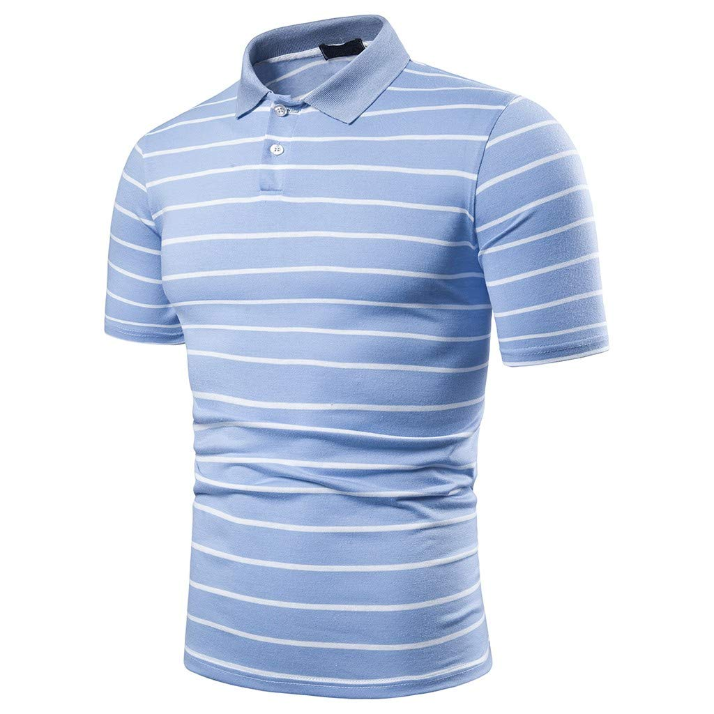 HHei_K Men Striped Lapel Buttons Short Sleeve Blouse Casual Turn Down Collar Top Slim Fit Stand Collar T-Shirt Blue