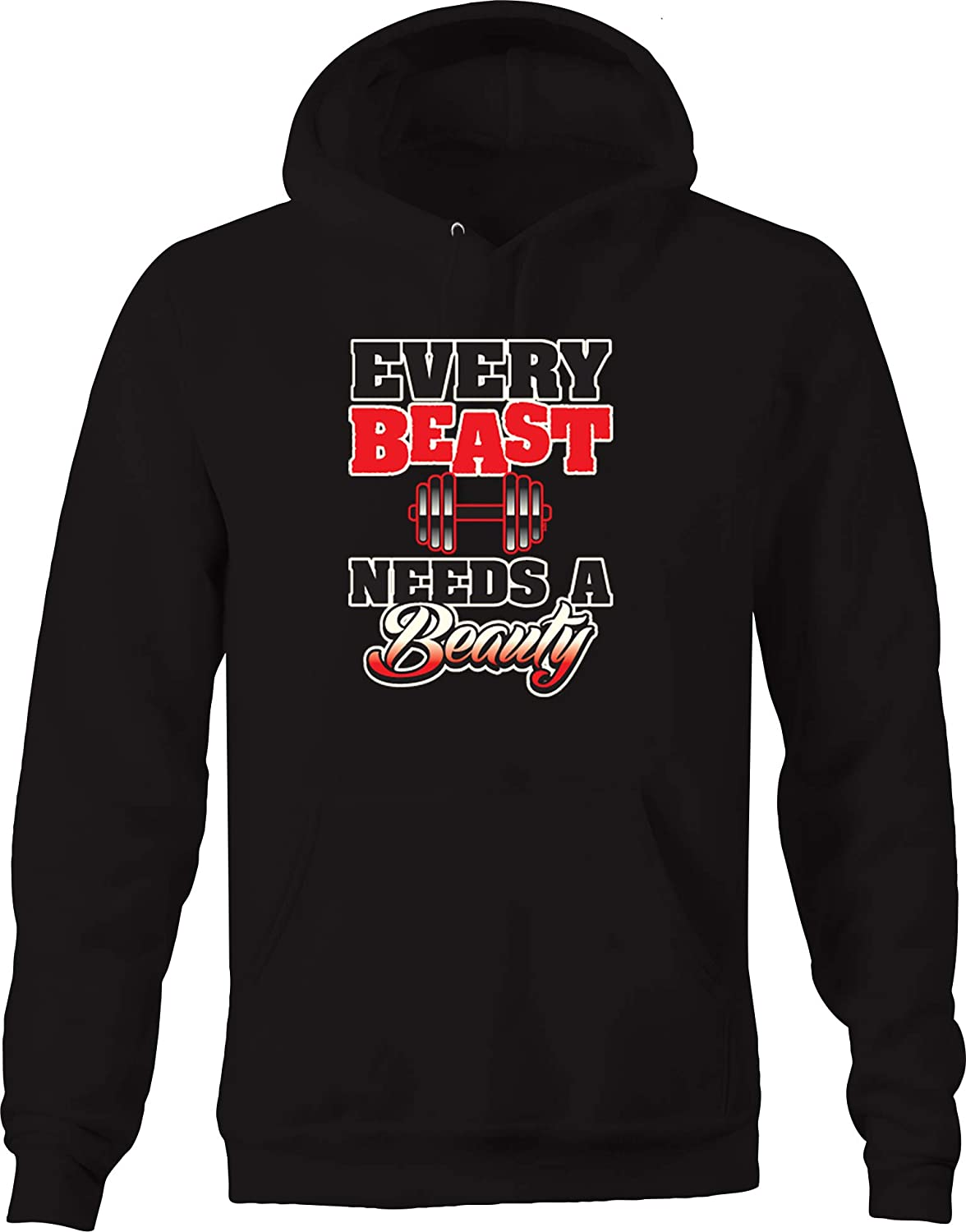 Every Beast Needs a Beauty Weightlifting Training Dumbbell Lift Hoodies for Men