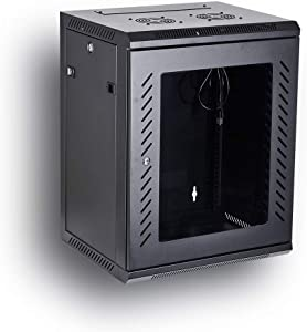 Kenuco 15U Wall Mount Rack Server Cabinet Data Network Enclosure 19-Inch Server Network Rack with Locking Glass Door 16-Inches Deep (BLACK 15U)