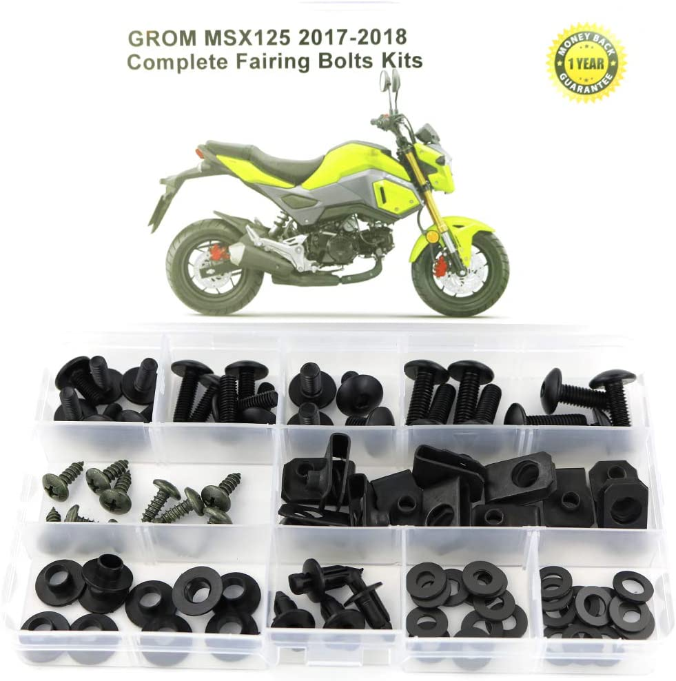 Amazon Com Xitomer Full Sets Fairing Bolts Kits For Honda Grom Msx125 2017 2018 Mounting Kits Washers Nuts Fastenings Clips Grommets Black Automotive