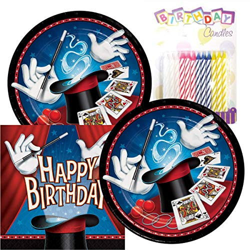 Magic Party Birthday Theme Plates and Napkins Serves 16 With Birthday Candles -