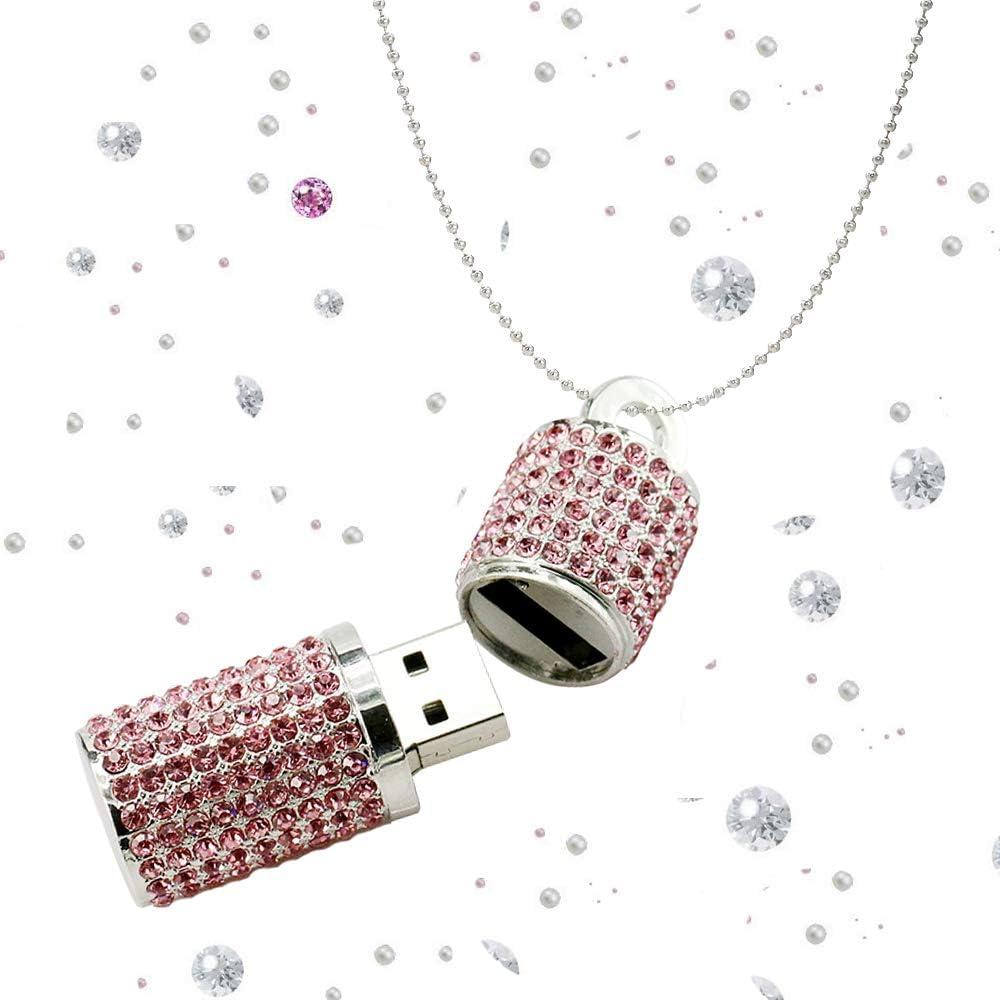 Ashey Flash Drive USB 128GB Pink Rhinestone Jump Drive Diamond Pen Drive Crystal Thumb Drive Glitter Lipstick Case Pendrive Shining Necklace Memory Stick with Jewelry Bag Gift for Girls