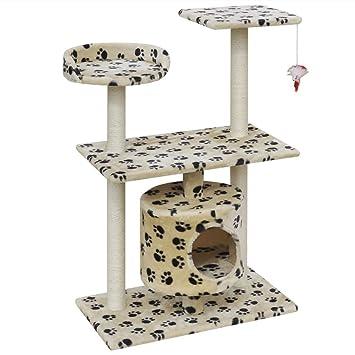 vidaXL Rascador para Gatos 94,5 cm 1 casa Beige con diseño de Huellas: Amazon.es: Hogar