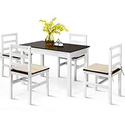Buy Giantex 5 Piece Dining Table Set Rectangular Kitchen Table And Chairs Set With 4 Ropes Cushion Pine Wood Compact Dinette Set For Kitchen Dining Room Small Space Apartment Walnut White Online In Turkey