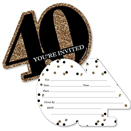 Amazon adult 40th birthday gold shaped fill in invitations adult 40th birthday gold shaped fill in invitations birthday party invitation cards filmwisefo