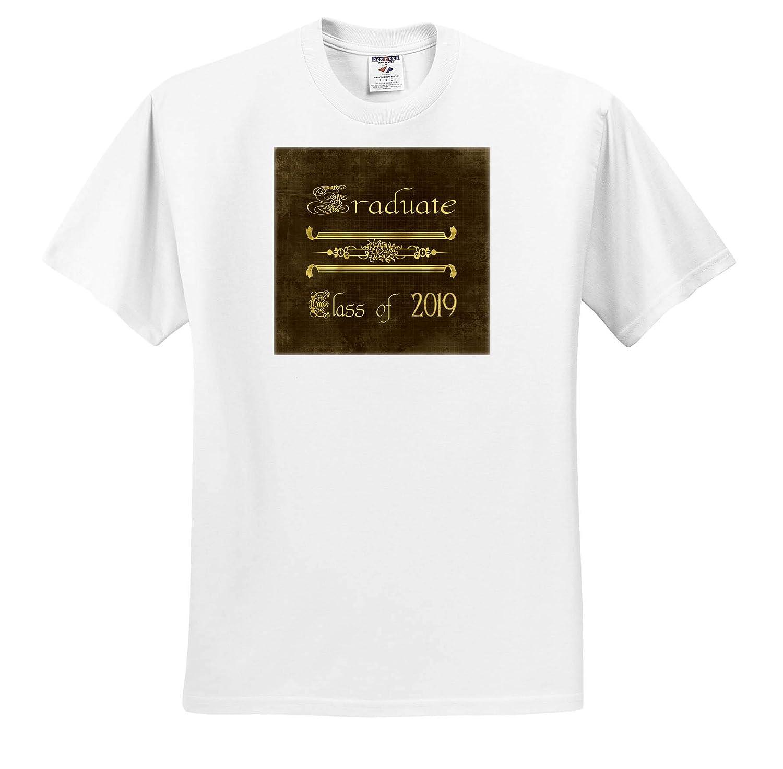Image of Graduate Gold on Brown Design 3dRose Beverly Turner Graduation Design Elegant Font T-Shirts Class of 2019