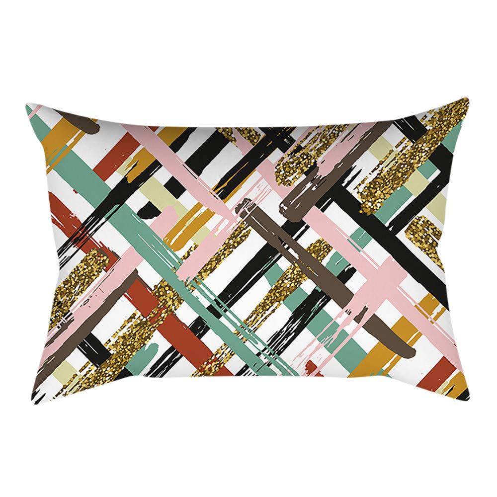 Pgojuni Rectangle Merry Christmas Pillow Case Sofa Waist Linen Blend Pillow Cover Cushion Cover Home Decor 1pc 30cmx50cm (F)