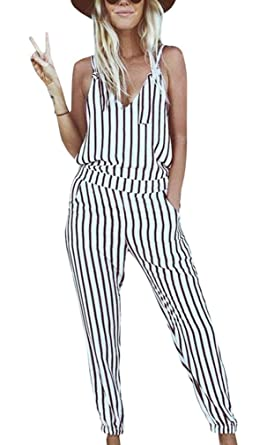 d6536d65699 Amazon.com  GAMISOTE Striped Bohemian Jumpsuit Sexy V-neck Strap Rompers  Jumpsuit  Clothing