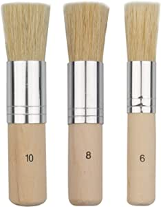 Evenwils Wooden Stencil Brush (3 Pcs) - Natural Bristle Paint Brush for Acrylic Painting, Oil Painting, Watercolor Painting, Stencil Project, Card Making and DIY Art Crafts