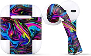 Protective Skin Wrap for Apple AirPods, Vinyl Sticker Cover Decal, Neon Color Swirl Glass