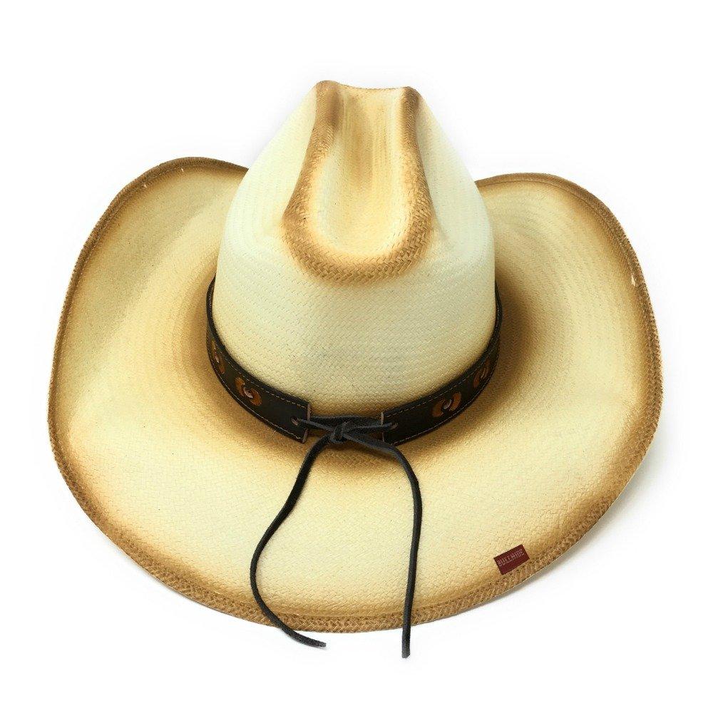 Bullhide Cream//Brown Little Big Horn Box Cowboy Hat Straw Natural